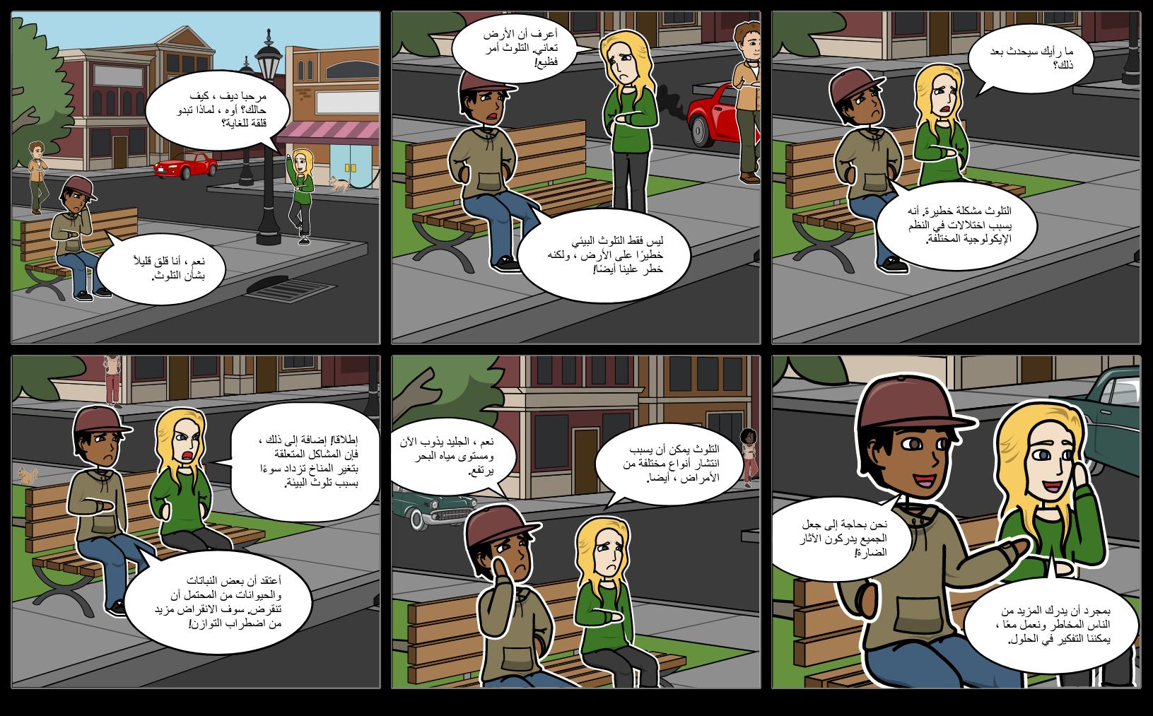حوار بين اثنين من الأصدقاء على التلوث البيئي Storyboard