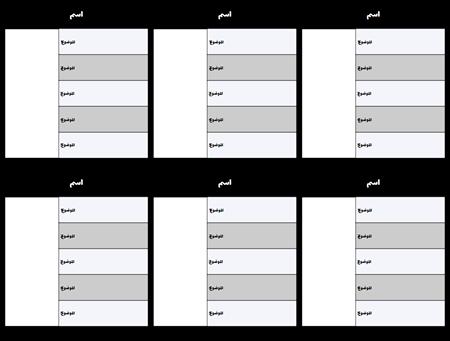 مخطط توزيع الأحرف 5-الميدان قالب