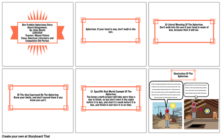 Azka Bhatti Aphorisms Story Board Assignment