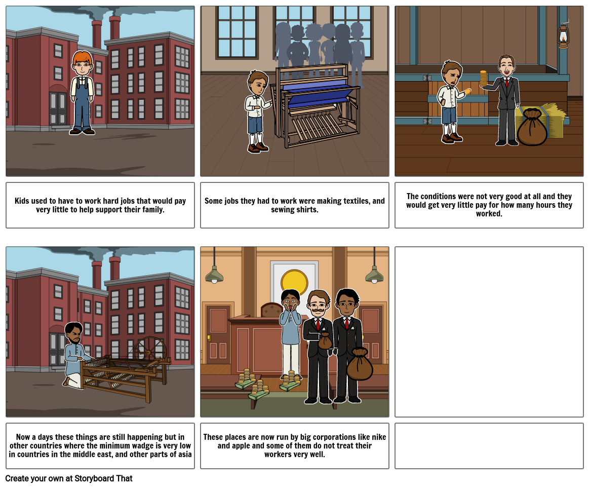 textile factory storyboard