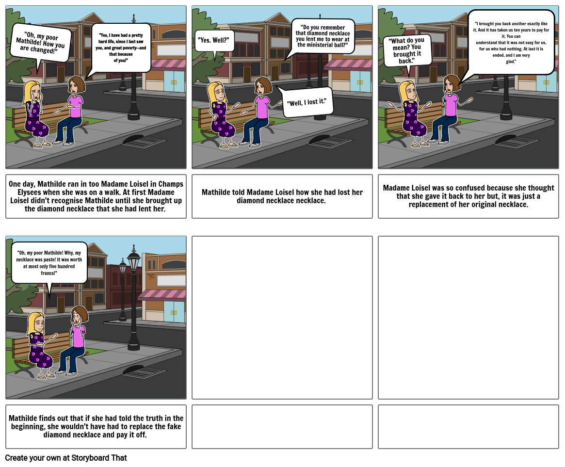 ELA The Diamond Necklace Storyboard project