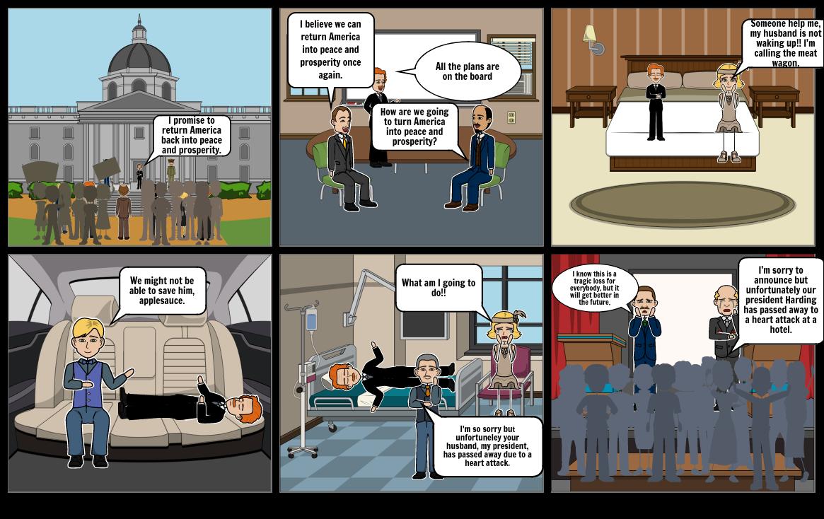 Comic strip- Harding becomes president