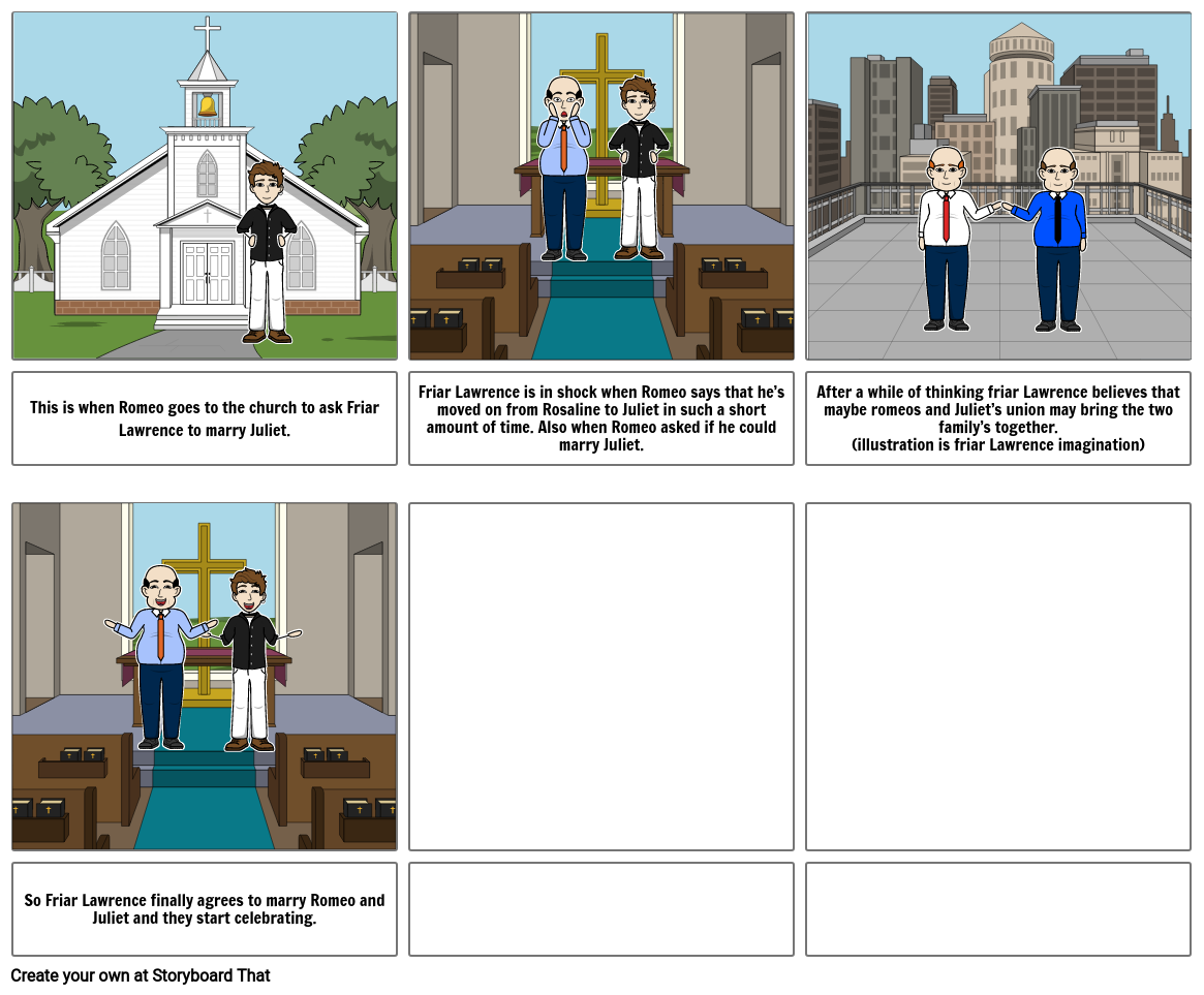 Romeo and Juliet story board.