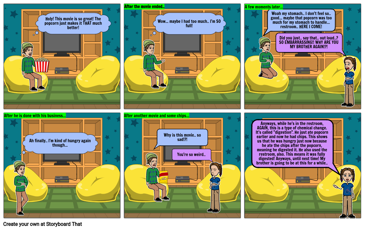 Chemical Changes / Properties Comic Strip