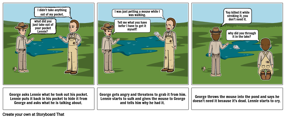 George and Lennie at the pond - Of Mice And Men