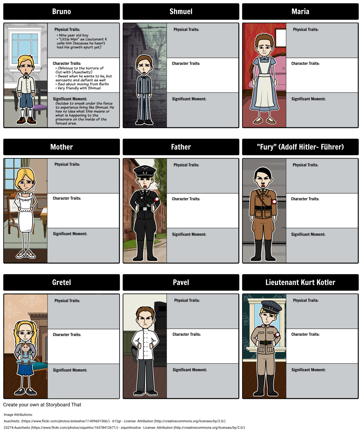 boy in the striped pajamas characters storyboard