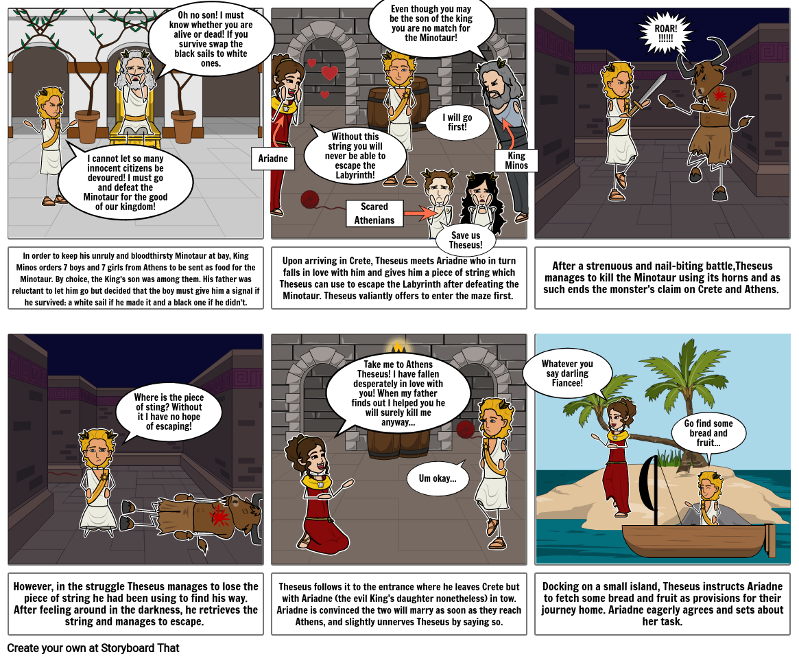 Theseus and the Minotaur Storyboard 1
