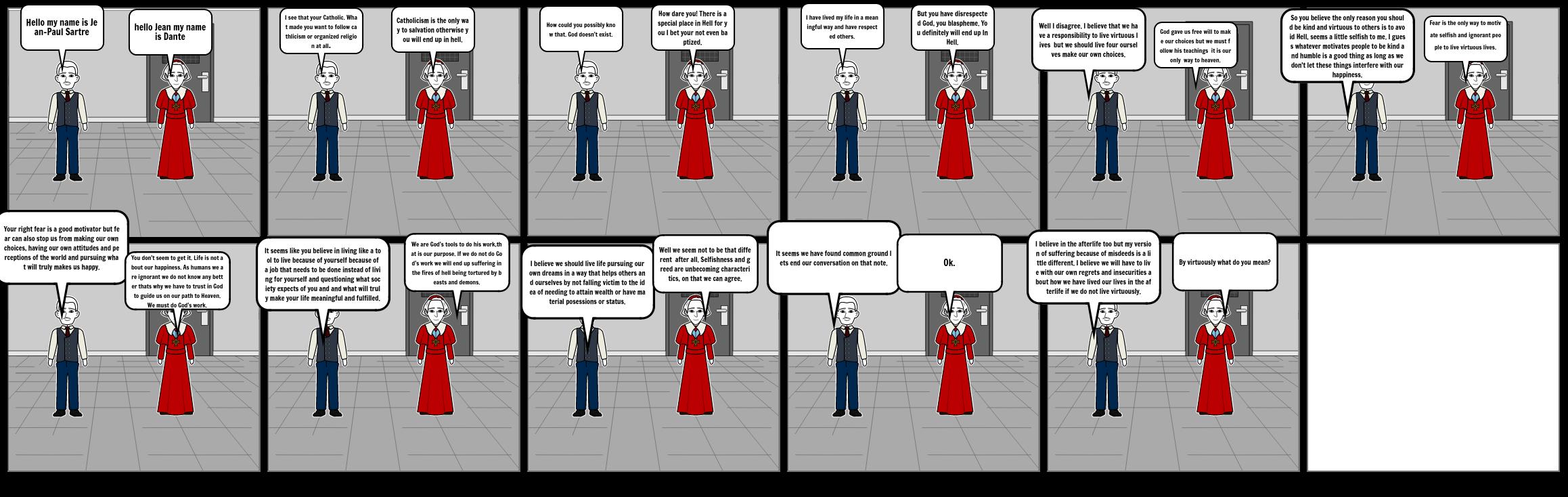dante's philosophy vs existentialism