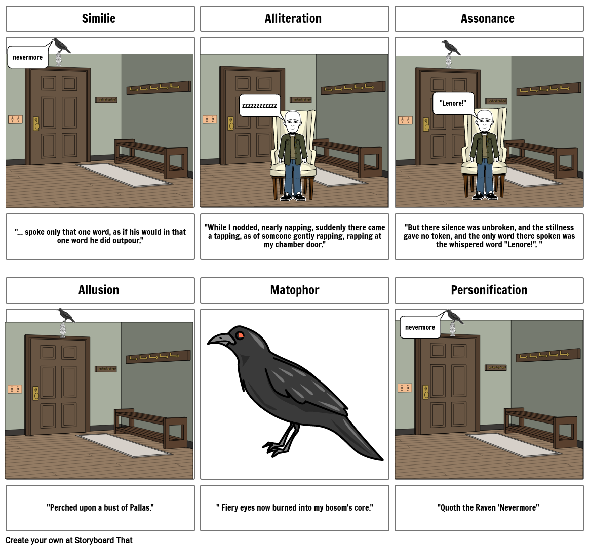 the raven figurative language