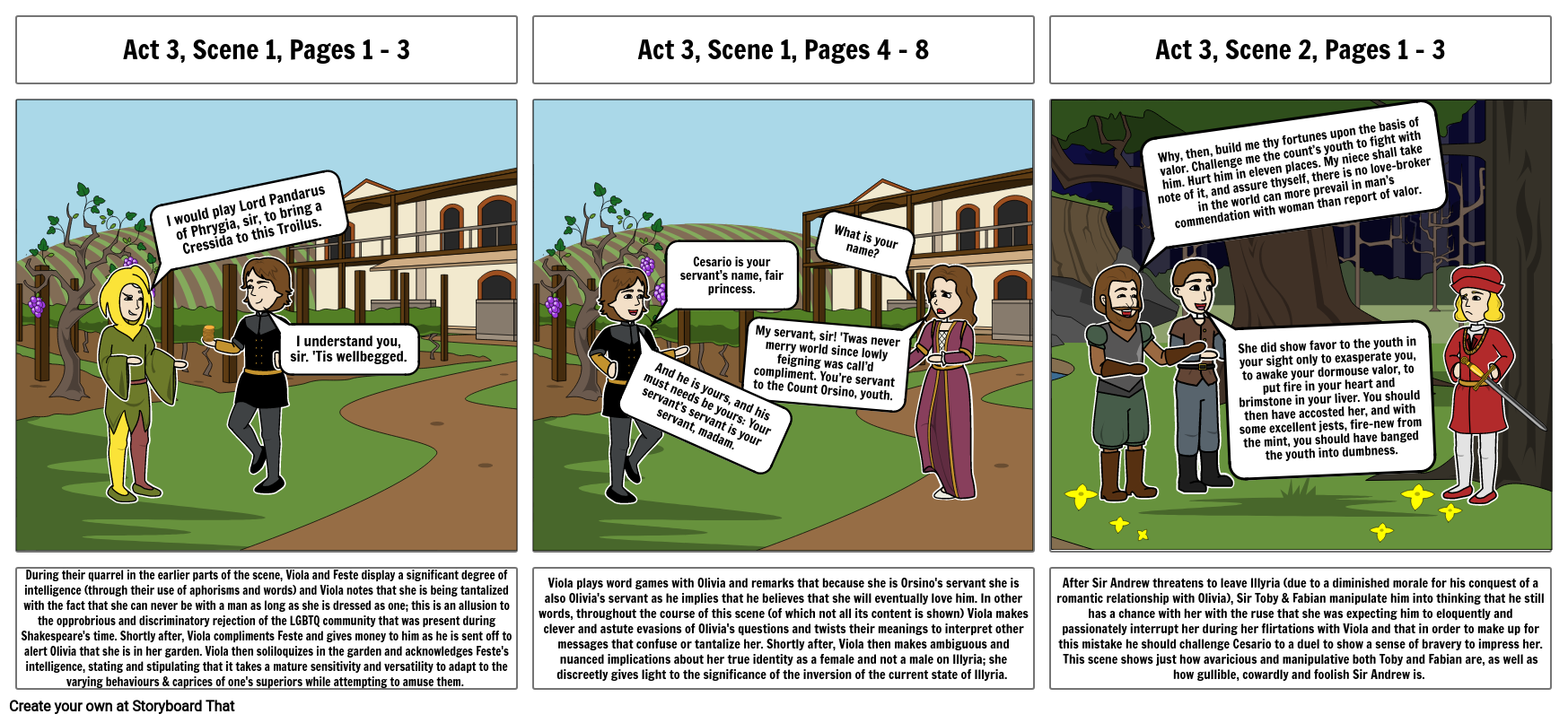 ENG1D Twelfth Night Characterisation Storyboard (Part 2)