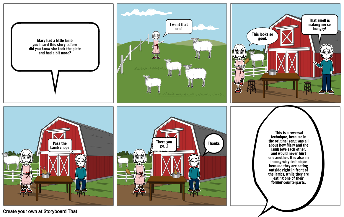 Satirical Mary Had A Little Lamb Storyboard By Brayden123123