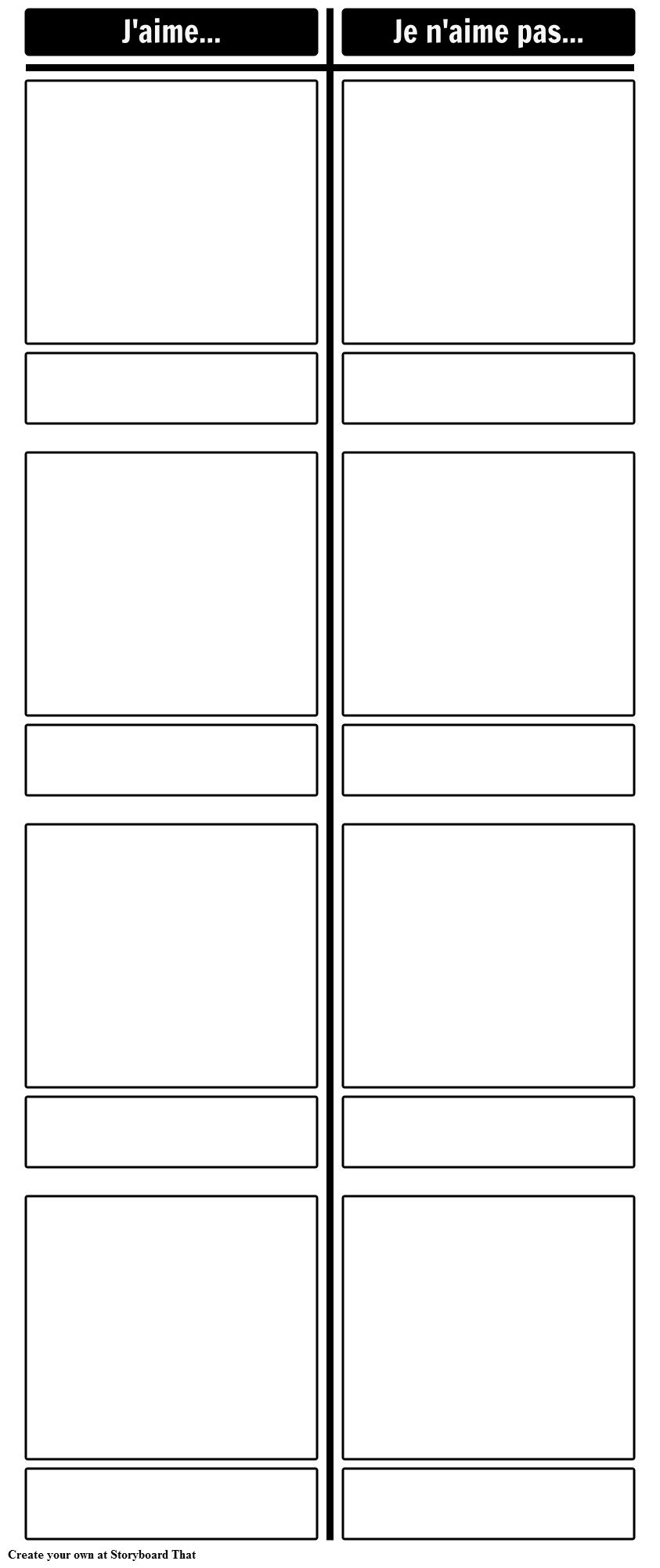 French Negation with Likes and Dislikes Template 1
