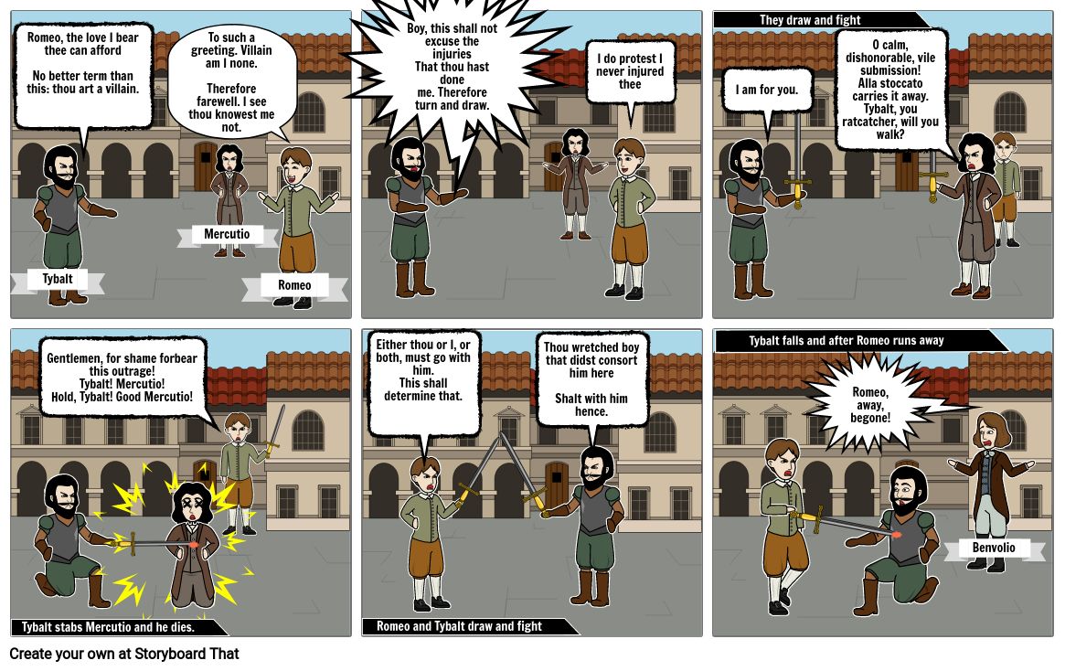 Romeo and Juliet Comic Strip Project