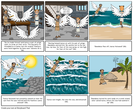 "Greek Gods and Heroes : ""Daedalus"" Storyboard by Amber Wong, Katherine Perkins,"
