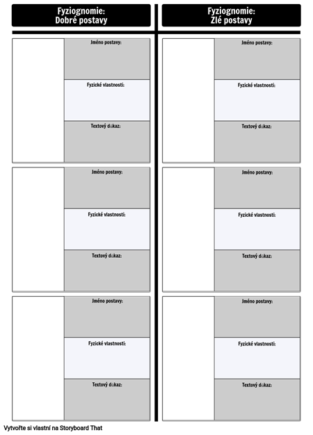 Šablona Grafu Porovnání Fyziognomie