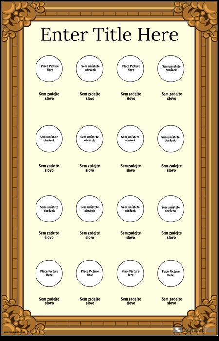 Zarámovaný Plakát Vizuální Slovní Zásoby