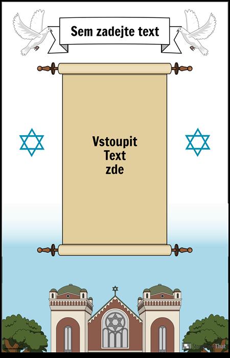 Židovský plakát se svitkem