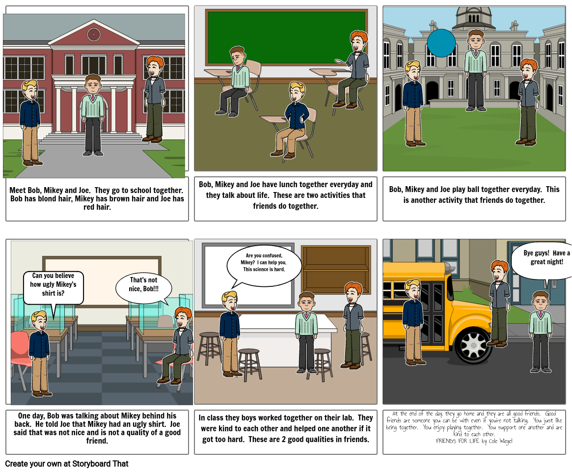 Cole Wiegel Friendship Storyboard