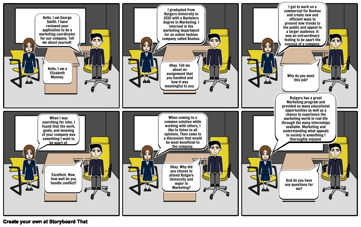 Job Interview Story Board Storyboard par d08a89e441343