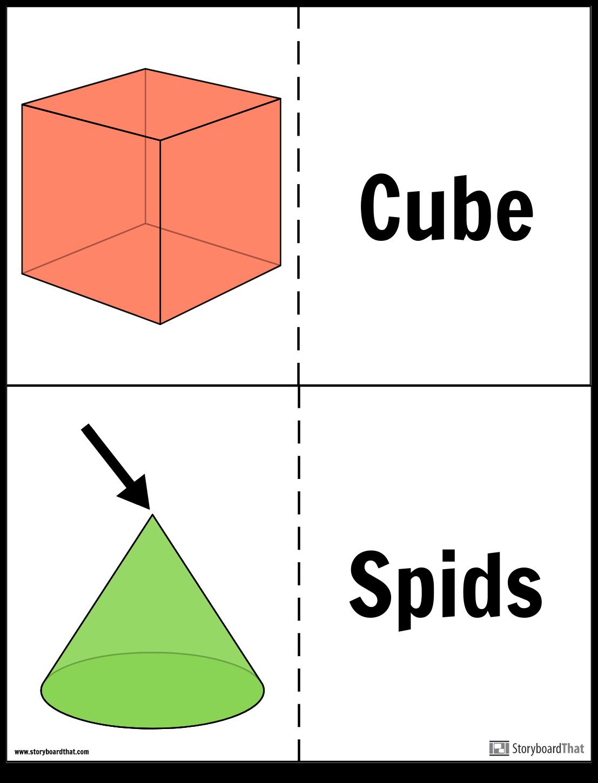 Geometriske Faste Stoffer Flash-kort