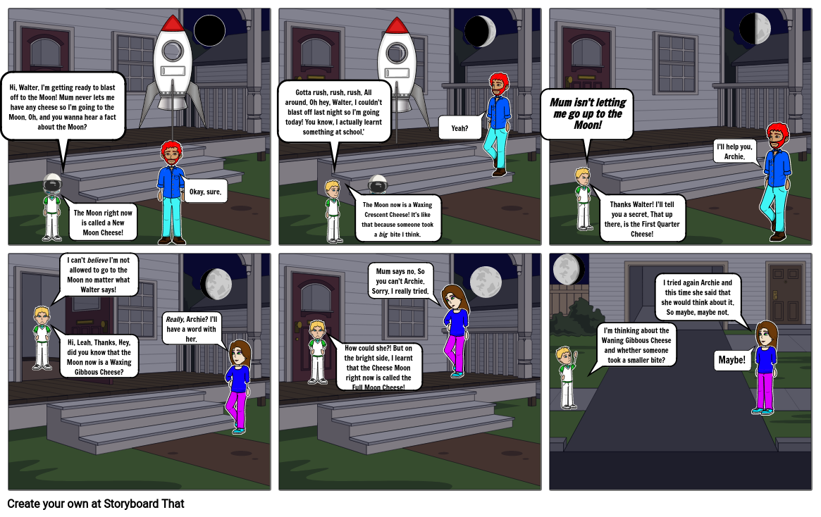 Moon Phases Comic Strip