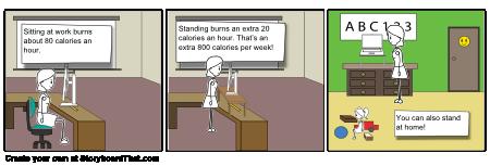 calories standing 2