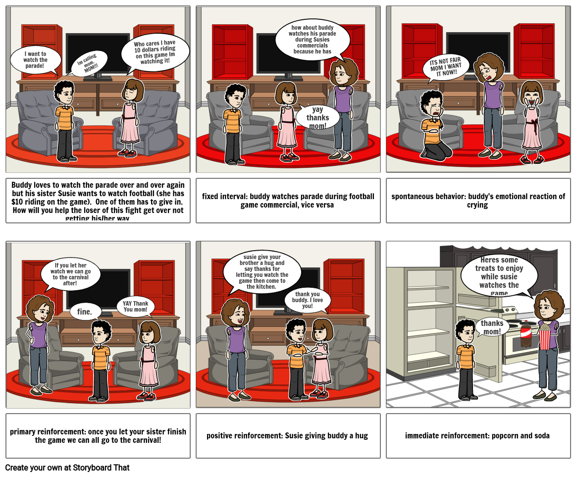 operant conditioning ap psych story board