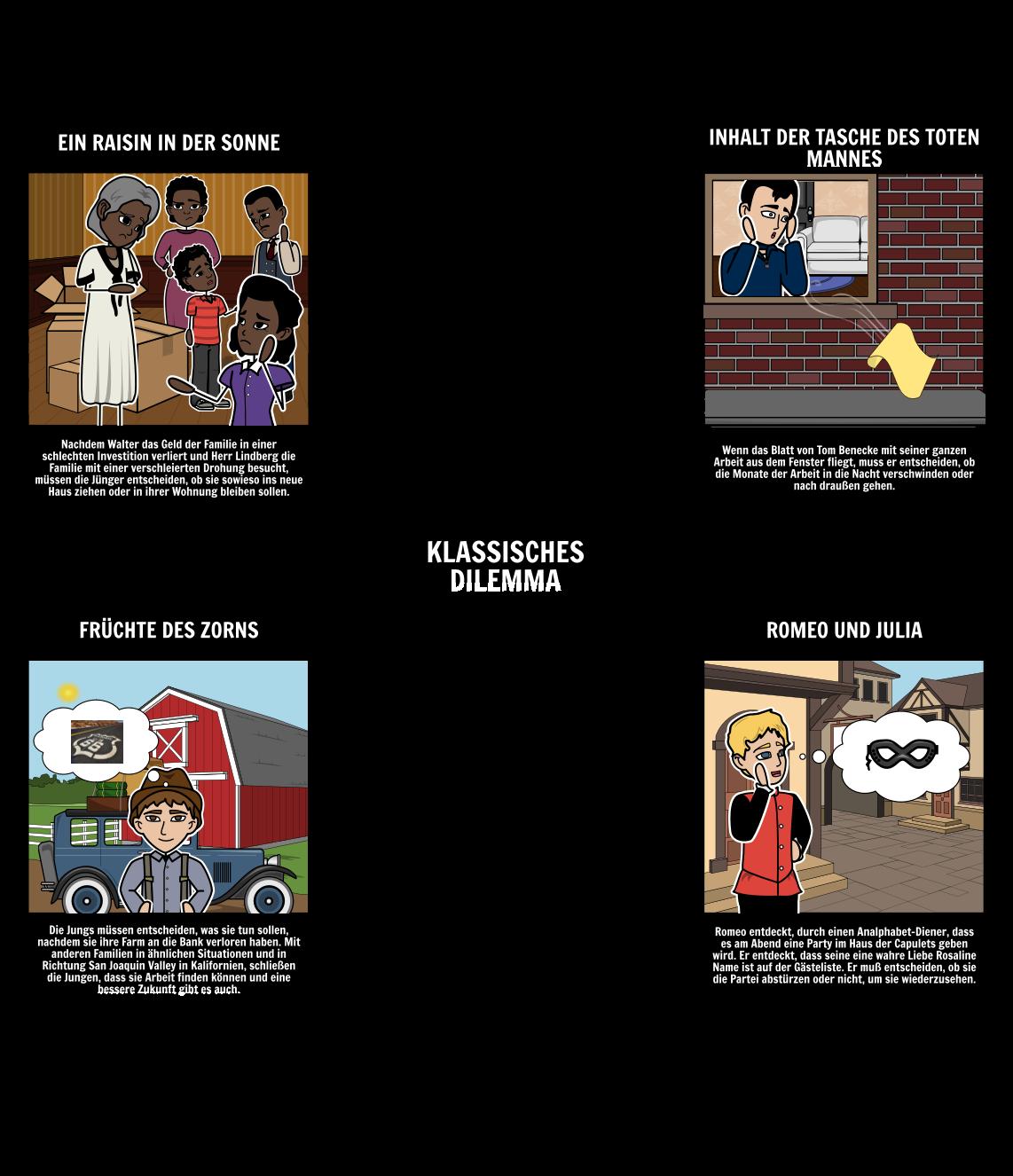 Beispiele für Klassische Dilemmata in der Literatur