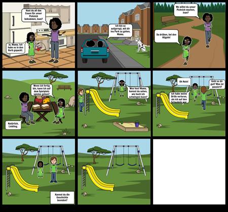 Ein Picknick mit Mama: Beende die Geschichte