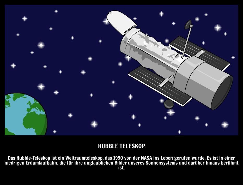 HST - Hubble Weltraumteleskop | Space Words mit Storyboards