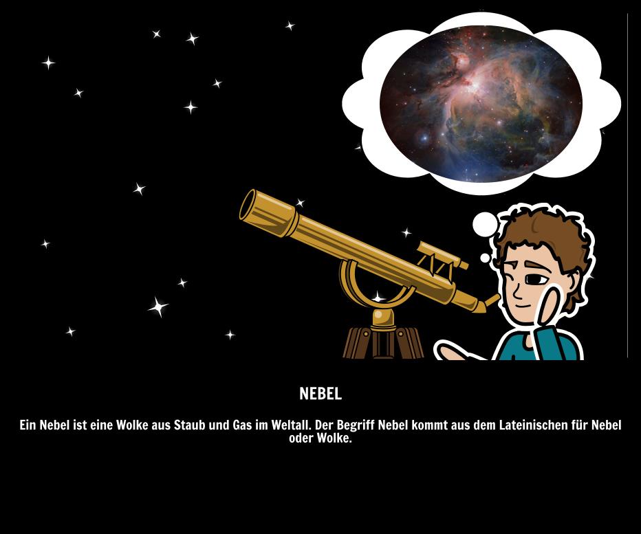 Raum-Wörter - Nebelfleck | Illustrierter Leitfaden zur Astronomie