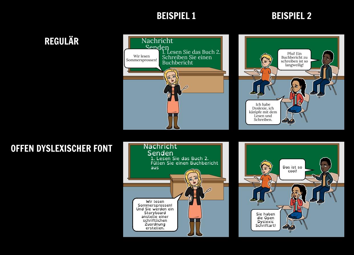 Öffnen Sie Dyslexic Font Storyboards