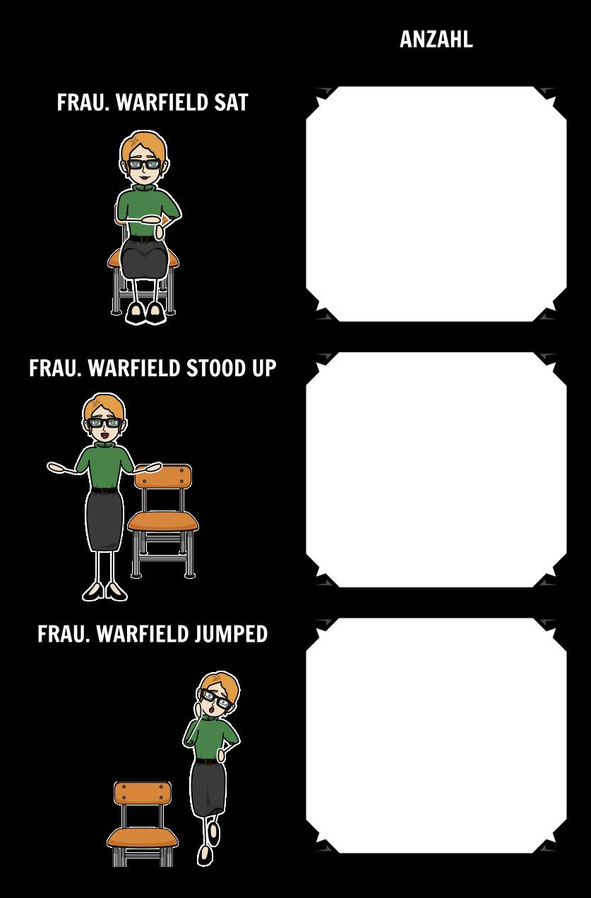 Sitzen, Stehen, Jump - Tally Chart Beispiel