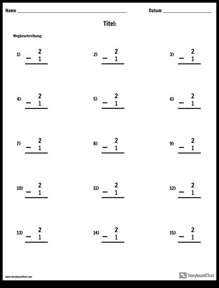 Subtraktion - Single Number - Version 2