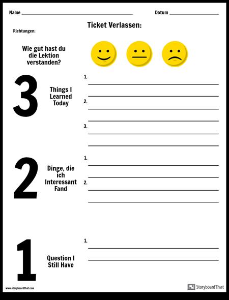 Erstellen Sie ein Exit Ticket | Ticketvorlagen und Ideen Beenden