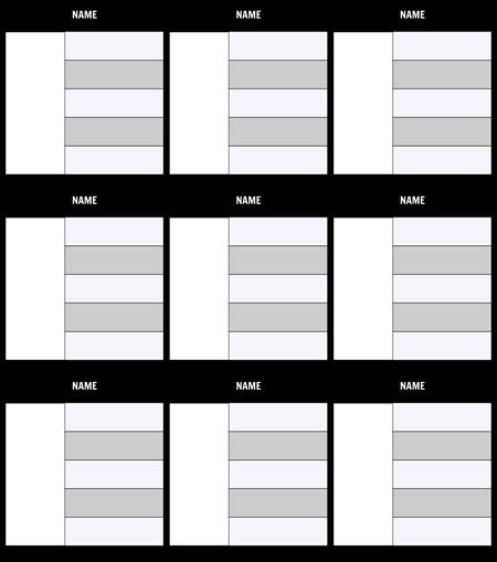 Zeichentabelle 5-Field Template