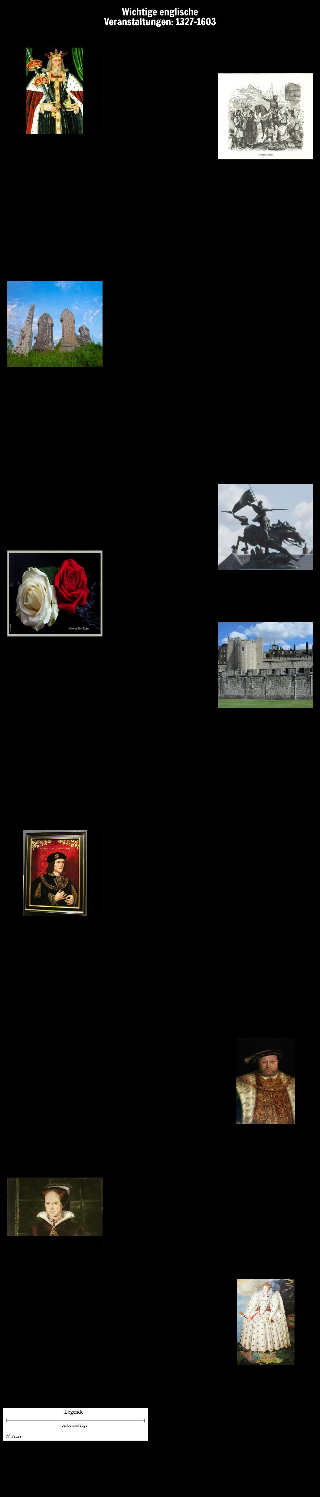 Zeitleiste wichtiger englischer Ereignisse: 1327-1603