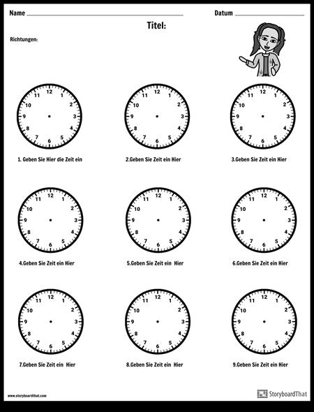 Ziehe die Hände auf die Uhr