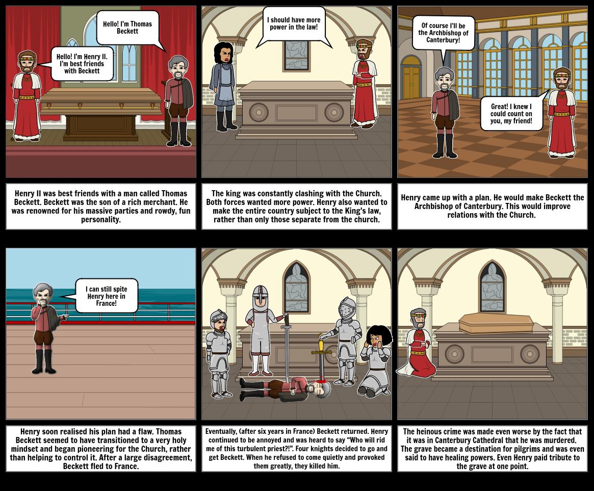 History Storyboard - Thomas Beckett and Henry II
