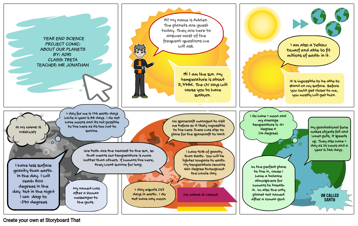 YEAR END SCIENCE PROJECT: COMIC ABOUT OUR PLANETS Part 1