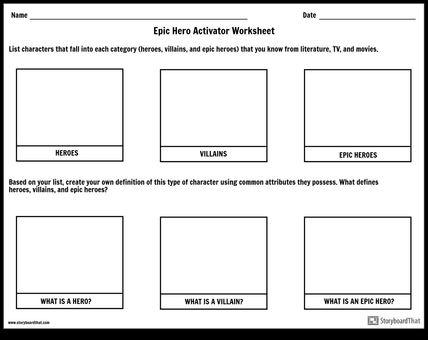 Epic Hero Activator Worksheet Storyboard by emily 💕
