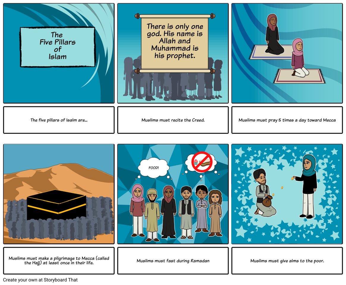 The five pillars of Islam Storyboard by emma11694
