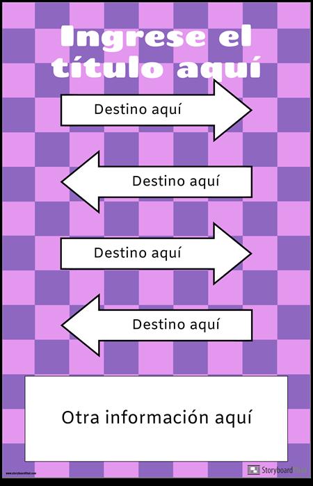 Cartel direccional con flechas