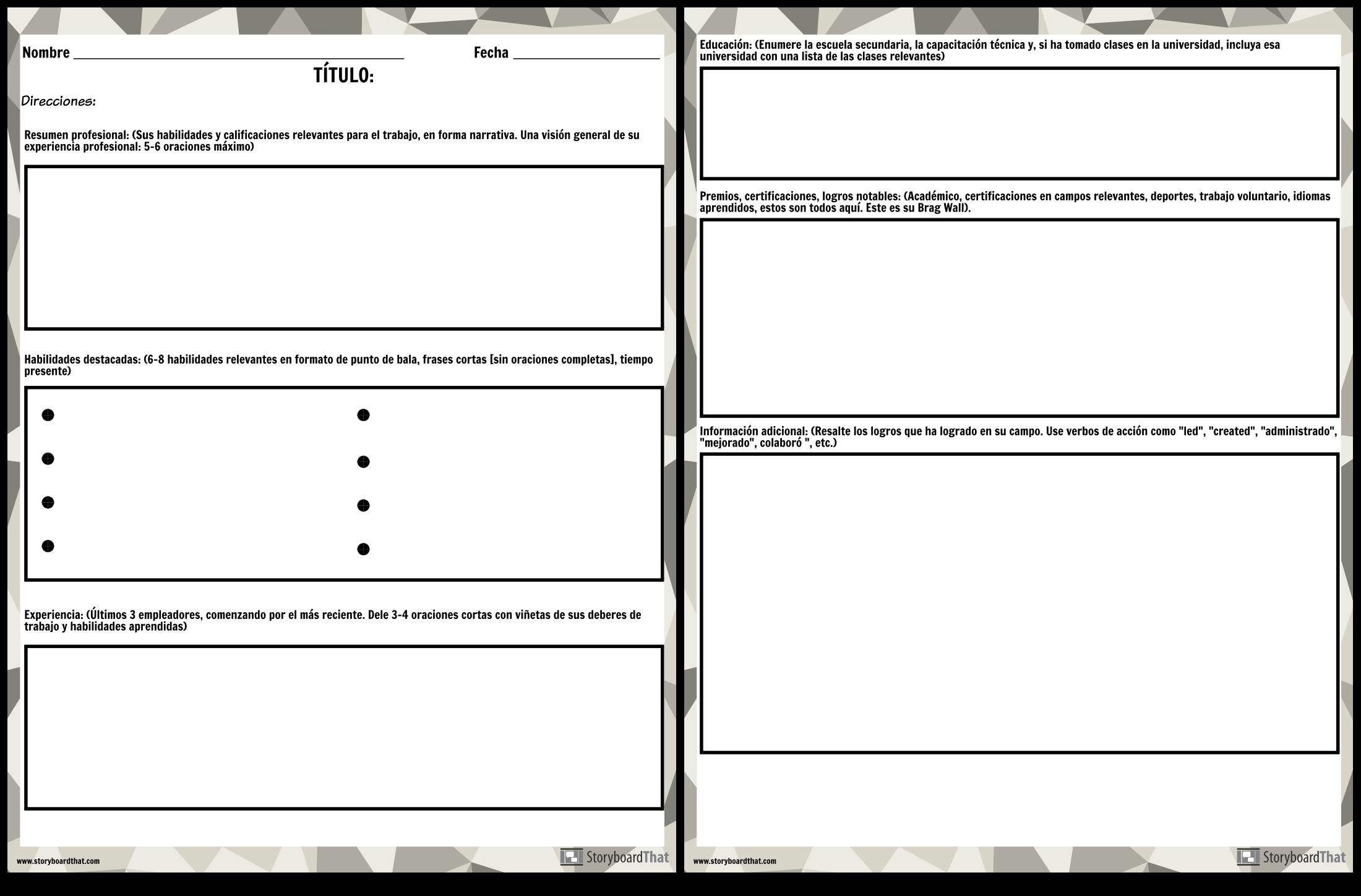 Curriculum Vitae 3 Storyboard Por Es Examples