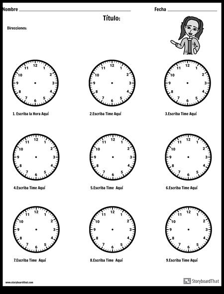 Dibuja las Manos en el Reloj