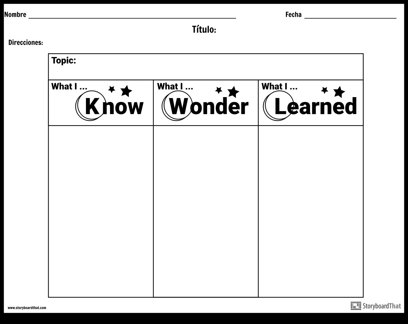 Hoja de Trabajo - KWL Storyboard by es-examples