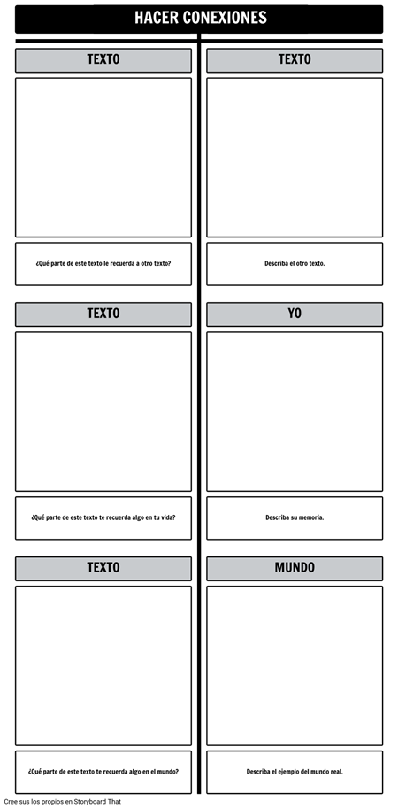 Plantilla de Gráfico T de Conexiones de Texto