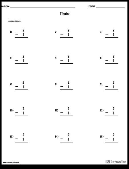 Resta - Número Único - Versión 2