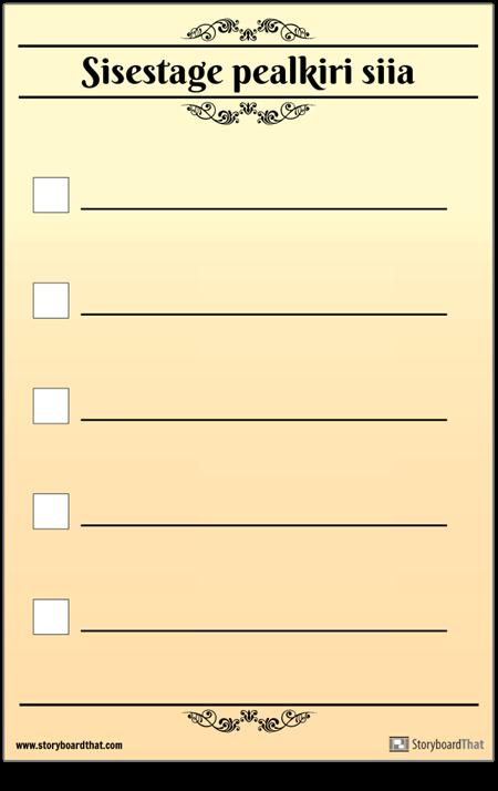 5 Põhiline Kontroll-leht