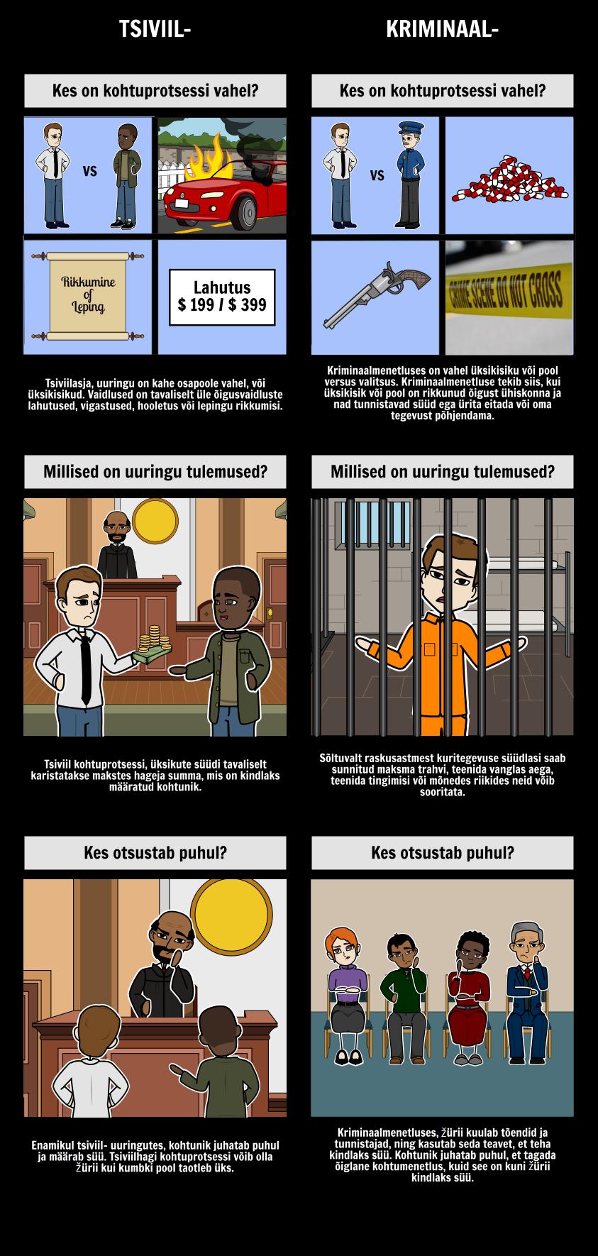 Avaliku vs Kriminaalmenetlused